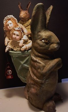 Tucked now in his basket are three happy friends, wonder where they are going? Decamp Sold to Sandra.  $75.00