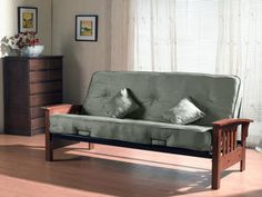 Primo International Indie Complete Futon with Wooden Arms and Pocket Coil Mattress with Pillows, Herbal Futon Chair Bed, Futon Bedroom, Futon Mattress, Mattress Sets, Daybed, Leather Futon, Futon Sets, Upcycling