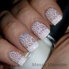 Bridal Nails by messymansion - Nail Art Gallery nailartgallery.nailsmag.com by Nails Magazine www.nailsmag.com #nailart