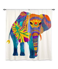 Look at this Pom Graphic Design Whimsical Elephant I Curtain Panel - Set of Two on #zulily today!