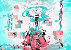 Hatsune's Flamingos - wings, colorful, flamingos, hatsune miku, long hair, anime, vocaloid, microphone