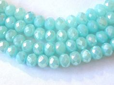 Seafoam Crystal Beads  8x10mm 70 Beads by wimsy on Etsy (Craft Supplies & Tools, Jewelry & Beading Supplies, Beads, seafoam beads, aqua beads, ab aqua beads, 8x10mm beads, rondelle beads, 70 beads, faceted beads, wimsy)