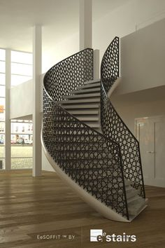 A staircase grill is not just a safety feature. The newels, balusters, and grills of a staircase can make a real design statement and bring a sense of Modern Stair Railing, Stair Railing Design, Stair Handrail, Staircase Railings, Modern Stairs, Spiral Staircase, Stairways, Metal Stairs, Staircase Ideas