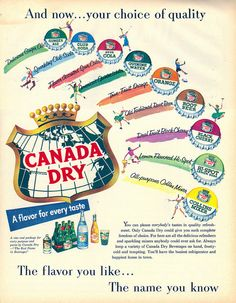 The full range of Canada Dry beverages - 1955
