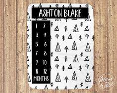 Baby Boy Blanket Milestone Blanket Monthly Milestone