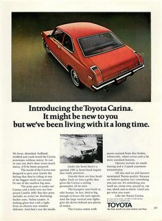 Toyota Carina! My first car in 1979 - $500 used, but mine was the color of a plum.