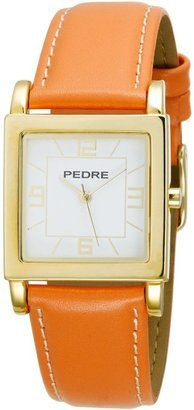 ShopStyle: Pedre Women's 7954GX Gold-Tone with Orange Leather Strap Watch