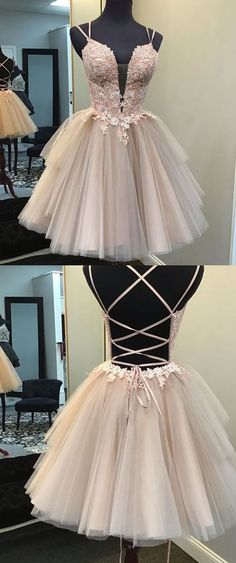 Ball Gown Blush Short Homecoming Dress - straps short homecoming dress blush, lace up back blush homecoming dress Source by dreamdressyoffical - Short Graduation Dresses, Lace Homecoming Dresses, Hoco Dresses, Lace Evening Dresses, Event Dresses, Junior Dresses, Pretty Dresses, Quinceanera Dresses Short, Cute Short Prom Dresses