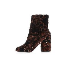 Topshop Harry Sequin Velvet Ankle Boots (€35) ❤ liked on Polyvore featuring shoes, boots, ankle booties, multi, ankle boots, sequin boots, sequin booties, high heel booties and short sequin boots