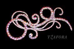 """""""Svetlana"""" - Ballroom hair accessory and ballroom jewelry made with Swarovski, available at www.tzafora.com © 2015 Tzafora. Handmade in Canada."""