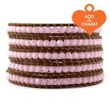 Chan Luu - The Rose Alabaster Crystal Wrap Bracelet on Natural Brown Leather by jewelry designer Chan Luu