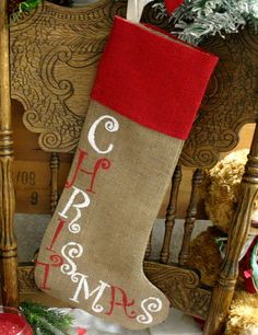 Burlap Christmas Stocking, RED, and WHiTE Christmas, Fireplace Christmas decor, Christmas Sewing, Christmas Love, Rustic Christmas, Christmas Projects, Holiday Crafts, Holiday Fun, Christmas Holidays, Christmas Decorations, Christmas Ideas