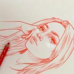 Girl Drawing Sketches, Pencil Art Drawings, Easy Drawings, Rik Lee, Sketching Techniques, Art Sketchbook, Cartoon Art, Art Inspo, Photo And Video