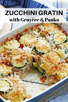 Gratin - Loaded with tender sliced vegetables, covered in a creamy béchamel sauce, and topped with crunchy panko breadcrumbs and Gruyère cheese, this zucchini casserole recipe makes a delicious or Zucchini Muffins, Zucchini Gratin, Zucchini Casserole, Vegetable Casserole, Casserole Recipes, Cheesy Zucchini Bake, Hamburger Casserole, Cauliflower Casserole, Healthy Zucchini