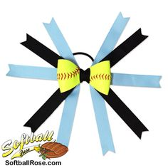 Softball Hair Bow Carolina Blue Black by SportsRoses on Etsy Softball Hair Bows, Softball Hairstyles, Different Font Styles, Making Hair Bows, Carolina Blue, Black Ribbon, Ribbon Colors, How To Make Bows, Grosgrain