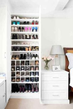 California Closets makes over one domino staffer& scary shoe situation in her small apartment. See how California Closets transformed one disorganized shoe closet into a beautiful storage situation. California Closets, California Travel, Closet Bedroom, Bedroom Storage, Diy Bedroom, Closet Storage, Bedroom Ideas, Closet Space, Bedroom Designs