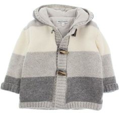 Baby Graziella Boys Grey Wool Stripe Duffle Cardigan
