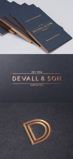 Elegant Copper Foil Edged Business Card For A Funeral Director