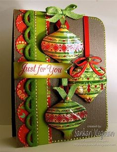 Traditional Christmas Baubles Card