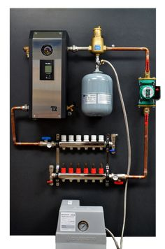 Pre-assembly panel for hydronic water floor heating system including boiler, manifold and pump Hydronic Radiant Floor Heating, Hydronic Heating, Radiant Heating System, Pex Plumbing, Heating And Plumbing, Water Heating, Heating And Cooling, Diy Carport, Mechanical Room