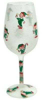 """Lolita Elf Party Wine Glass by Santa Barbara Design Studio. $29.99. 9"""". Glass. Lolita Elf Party Wine Glass Love My Wine hand-painted glasses feature a delicious wine cocktail, Lolita's trademark """"recipe on the bottom"""" design. 15 oz glass comes in a Lolita signature gift box. Lolita glasses are NOT dishwasher safe; the harsh chemicals and high temperatures can damage the paint. We recommend gentle hand washing to clean your Lolita glassware. © Lolita"""