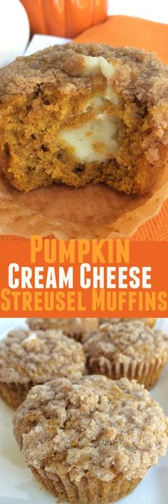 Pumpkin muffins with a sweet cheesecake center and topped with cinnamon streusel. These pumpkin cream cheese streusel muffins are the best. Fall Desserts, Just Desserts, Delicious Desserts, Dessert Recipes, Yummy Food, Tasty, Pumpkin Recipes, Fall Recipes, Summer Recipes