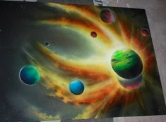 Spray Paint Painting | Matt Sorensen | Solar System - his paintings are all sl beautiful and use vibrant colours