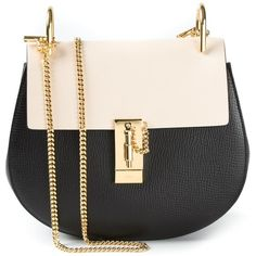 Chloe Drew Black & White Small Grained Nappa Leather Bag (24400 MAD) ❤ liked on Polyvore featuring bags, handbags, shoulder bags, black, chloe handbags, chain handle handbags, black shoulder bag, chloe purses and white and black purse