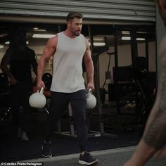 Mr muscles!Showing off his bulging biceps in the clip, Chris said he's in the best shape ... Mr Muscle, Chris Hemsworth, Biceps, Thor, Muscles, Sporty, Ads, Shape, Fitness