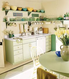 Simple shelves make dishes and other unique items the focal point, so pick up retro-style items when you see them.