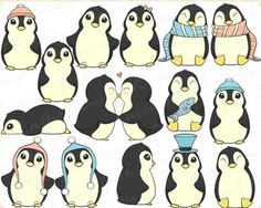 OFF Anniversary Sale! Cute Penguins Clip Art Set - Personal & Commercial Use Pinguin Drawing, Pinguin Illustration, Penguin Love, Penguin Images, Penguin Baby, Penguin Tattoo, Baby Penguins, T Rex, Spirit Animal
