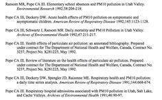 DATA:  Dr. Pope, at BYU, documents the health impacts of air pollution in Utah and elsewhere.  This link to his vita will direct you to many journal articles on this topic.  University students and faculty can get these articles through their University  library.  If you need help, contact me.