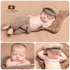 Newborn Baby Photography Prop Hand Crocheted old Mans Cap available in a choice of colours and yarns. Matching pants can be made on request.