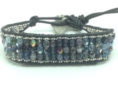 """Fitbit Flex bracelet (Small) """"Stormy Skies"""" Blue Grey leather wrap bracelet - stores Fitbit flex"""