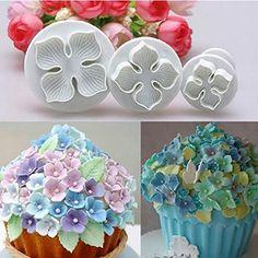 AbleGrow (TM), tagliapasta a forma di ortensia per cake design, accessorio per decorare le torte a forma di fiore, 3 pezzi