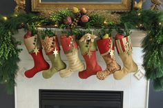 Christmas Stockings in Rich Reds Leafy di SouthHouseBoutique