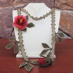 "Authentic Anatolian Needle Lace Pure Silk ""Gül"" Necklace"