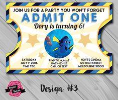 Finding Dory birthday party movie-ticket invitation by Digital Daliah