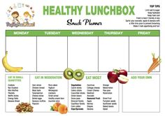 FREE Healthy Lunch Box Snack Planner Printable! A fantastic way to plan your snacks for the week!