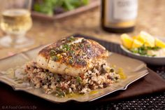 Pan roasted halibut with lemon-caper vinaigrette. Healthy, light, and what to do with thin filets.