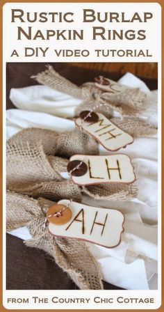 DIY Rustic Burlap Napkin Rings for Thanksgiving -- learn how to make your own fun napkin rings with this video tutorial.