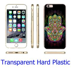 Hamsa Hand Amulet Psychedelic Hard Transparent Phone Case for iPhone 5S 5 SE 5C 4 4S 6 6S 7 Plus Cover ( Soft TPU / Plastic )