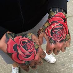 Black And Red Rose Tattoos On Both Hands