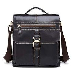 2e7223dac6 AIYAMAYA Men s Shoulder Messenger Bag Vintage Leather Briefcase Crossbody  Day Bag for School and Work (Color   Dark Coffee)