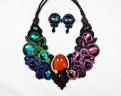 Soutache handmade necklace and earrings with carnelian and venetian glass