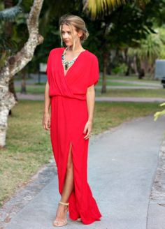 Gorgeous Red Maxi outfit. Discover the new and unpopular fashion.