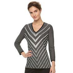 Women's Dana Buchman Chevron V-Neck Sweater