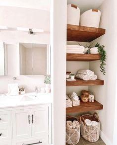 Walnut Floating Shelves, Floating Shelves Bathroom, Wooden Shelves, Bathroom Linen Closet, Small Bathroom, Bathroom Renos, Bathroom Interior, Bathroom Ideas, L Shaped Bathroom