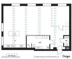 Loft with open kitchen / Loft-asunto avokeittiöllä Open Kitchen, Floor Plans, Loft, Lofts, Floor Plan Drawing, House Floor Plans, Attic