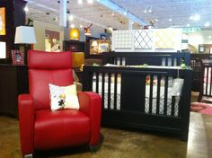 Ventianni Crib In Black Finish Shown With A Leather Dutailier Recliner And  Bedding By Glenna Jean
